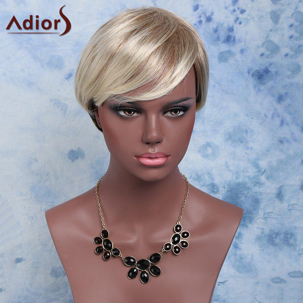 Natural Straight Adiors Inclined Bang Synthetic Short Mixed Color Wig - COLORMIX