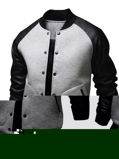 Raglan Sleeve Snap Button Up PU Leather Insert Jacket jodorowsky ladronn los hijos del topo