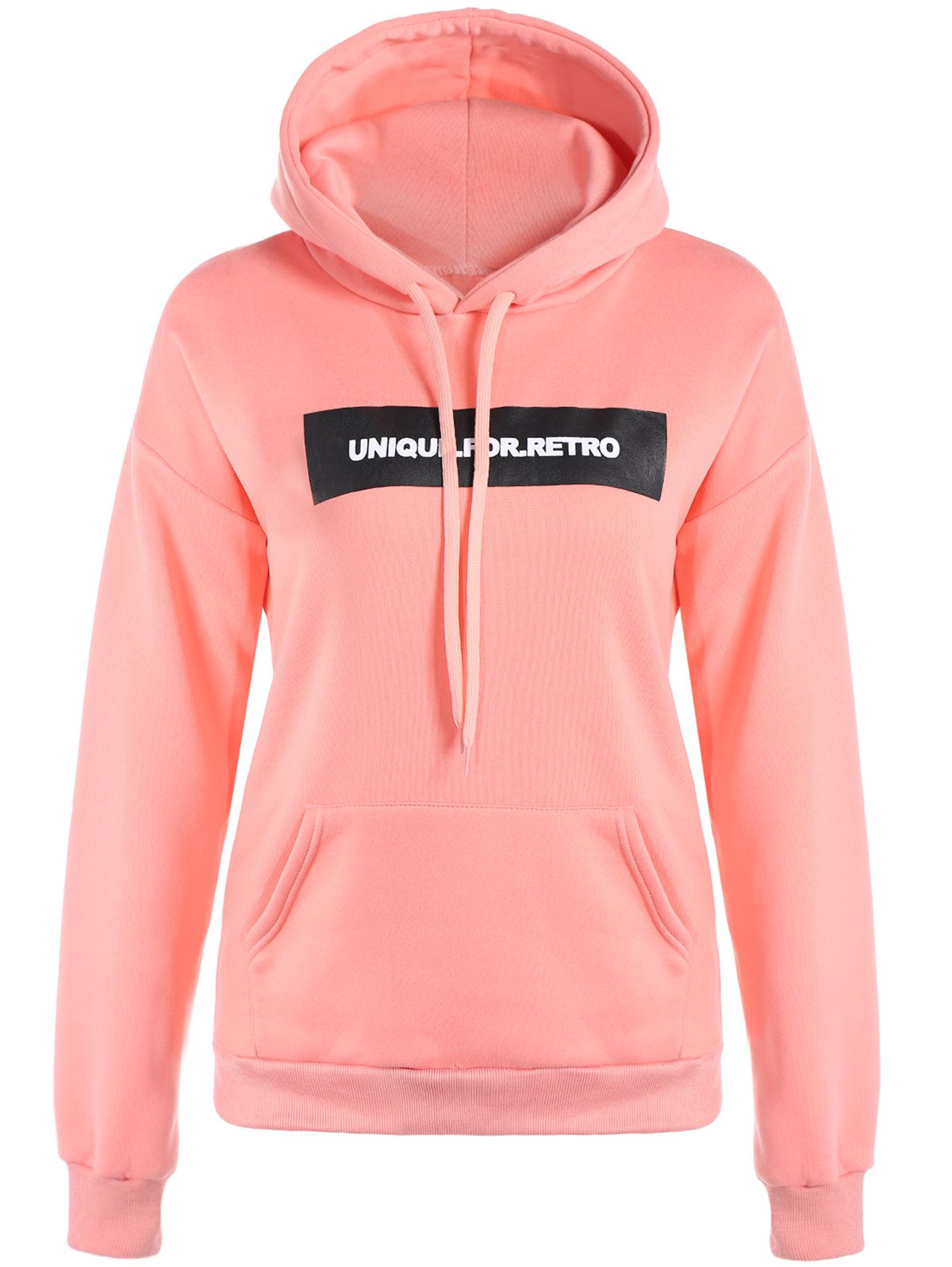 Letter Drawstring HoodieWomen<br><br><br>Size: S<br>Color: PINK