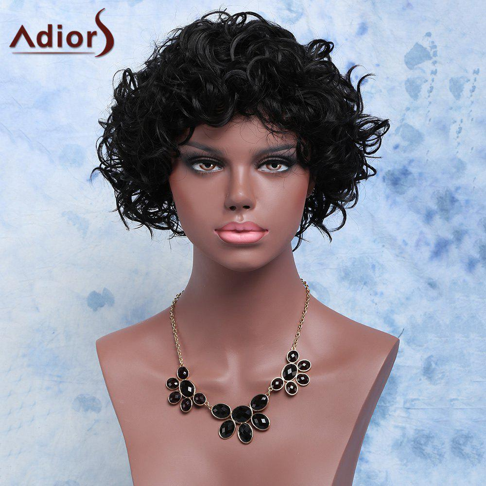 Adiors Shaggy Medium Curly Side Bang Synthetic Wig - BLACK