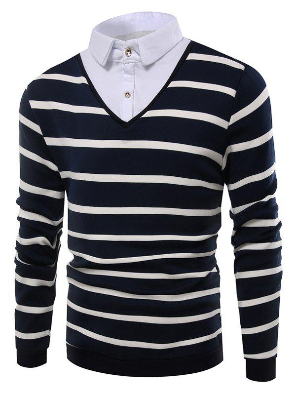 Striped Faux Twinset Shirt Collar Knitwear - ROYAL 3XL