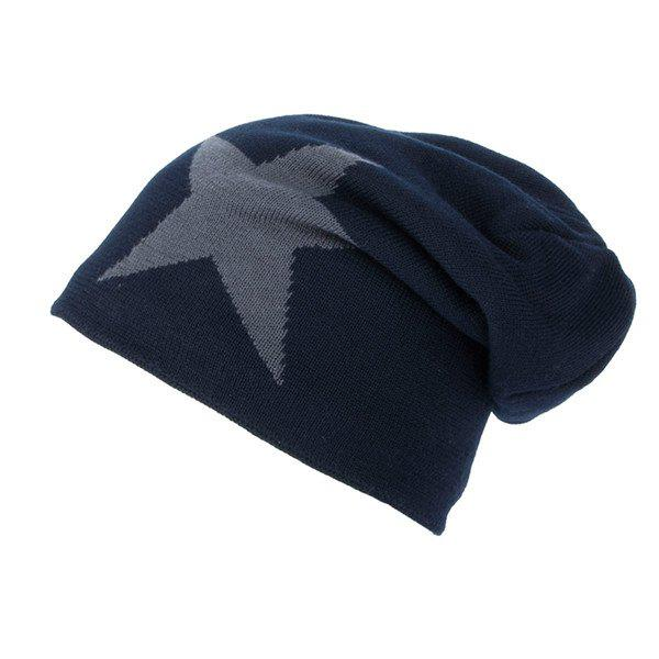 Star Pattern Flocking Knitted Ski Hat - CADETBLUE