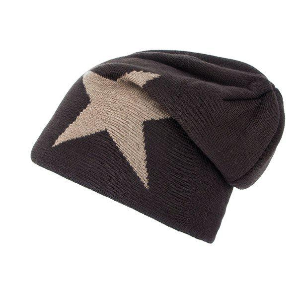 Star Pattern Flocking Knitted Ski Hat - COFFEE