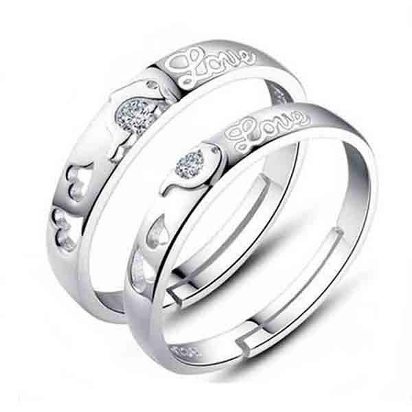Pair of Chic Rhinestone Dolphin Heart Ring For Lovers - SILVER ONE-SIZE