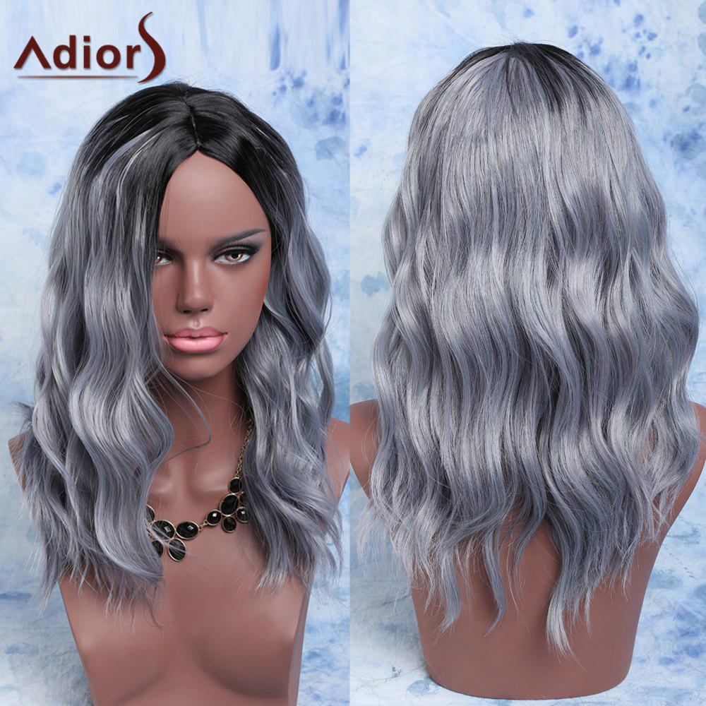 Adiors Mixed Color Fluffy Medium Wave Centre Parting Synthetic Wig red mixed black synthetic fluffy wave medium women s adiors wig