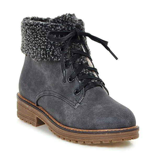 Lace Up Faux Shearling Ankle Boots - GRAY 39