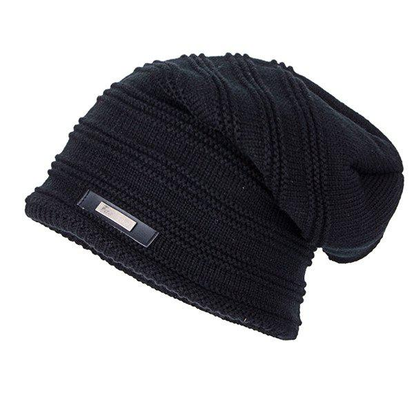 Label Horizontal Stripe Knitted Ski Hat - BLACK