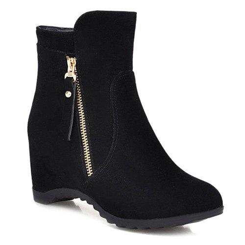 Hidden Wedge Suede Ankle Boots - BLACK 39