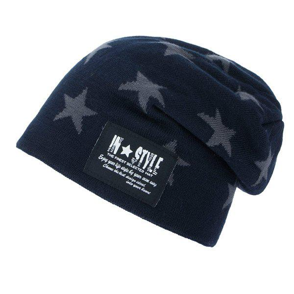 Five Pointed Star Pattern Letter Patch Knit Ski Hat - CADETBLUE