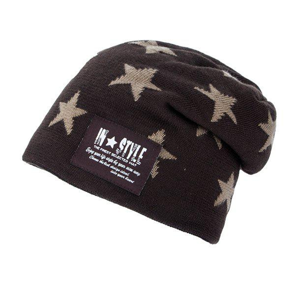 Five Pointed Star Pattern Letter Patch Knit Ski Hat - COFFEE