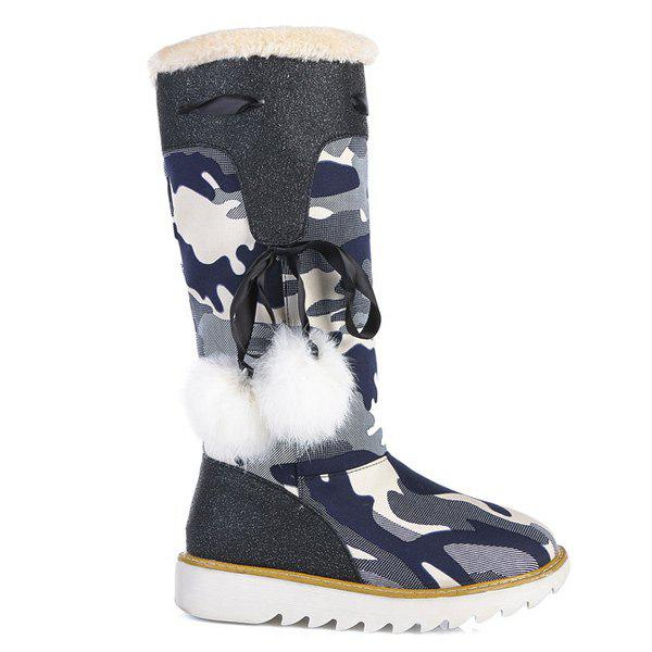 Canvas Insert Camouflage Pattern Snow Boots