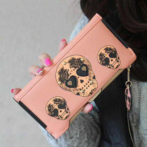 Skull Clutch Wallet With Removable Compartment - PINK