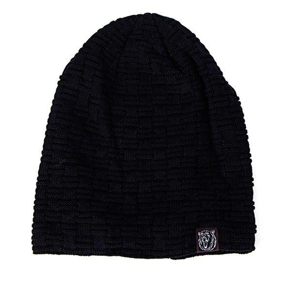 Label Woven Stripes Flocking Knit Hat, Black