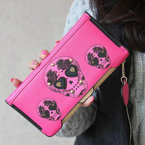 Skull Clutch Wallet With Removable Compartment - ROSE RED