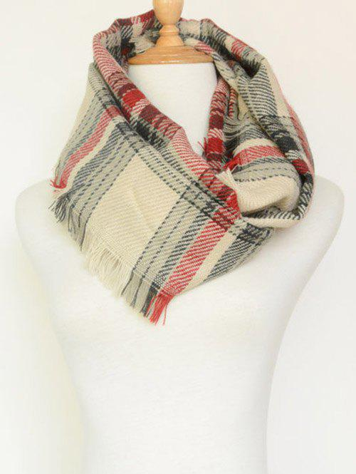 Plaid Pattern Fringed Warm Cowl Scarf - BEIGE