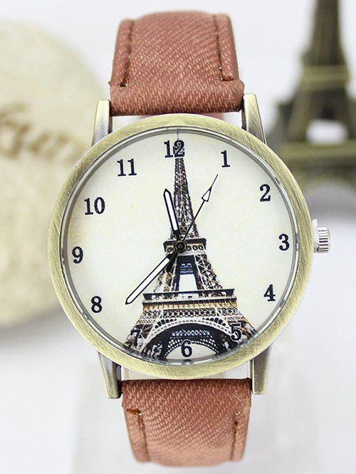 Eiffel Tower Faux Leather Watch - BROWN