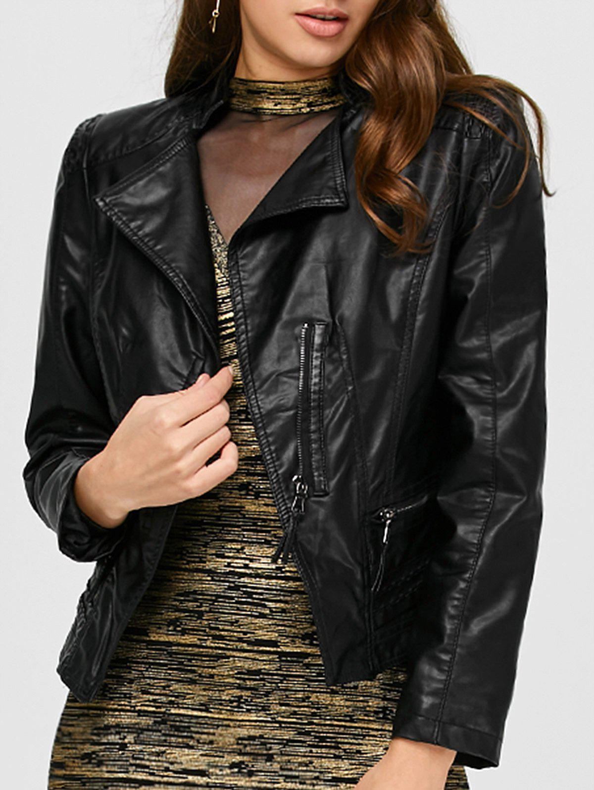Slim Fit Cropped Biker JacketWomen<br><br><br>Size: L<br>Color: BLACK