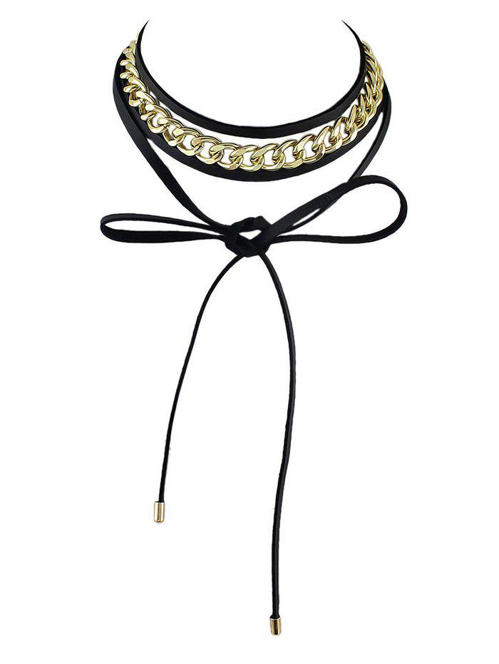 Punk Chain Layered Wrap Necklace, Black