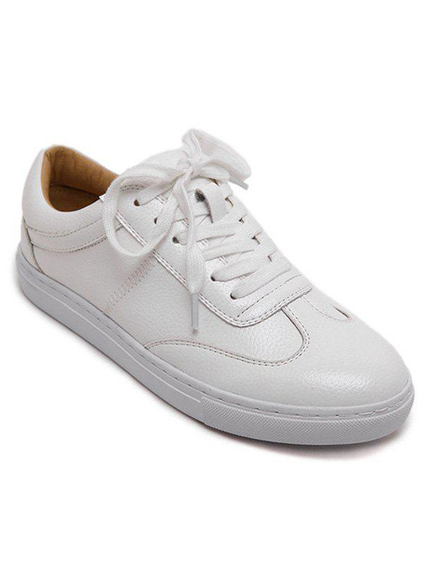 Stylish Tie Up and White Design Women's Athletic Shoes - WHITE 39