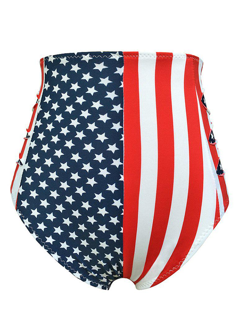 Flag Distressed Vintage Cheeky High Waisted Bikini Shorts - BLUE/RED L