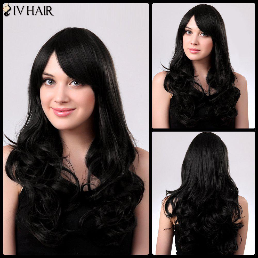 Inclined Bang Long Fluffy Natural Wavy Siv Human Hair Wig - JET BLACK