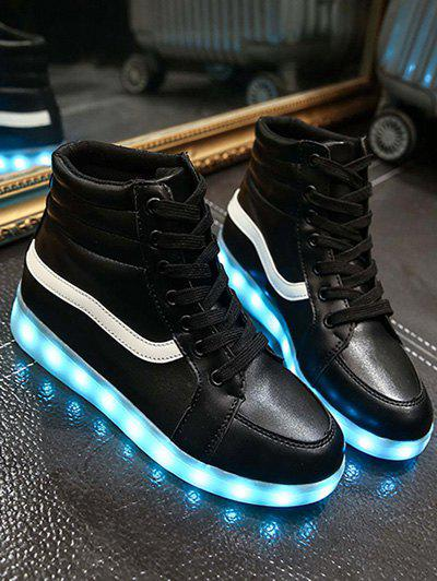 Trendy Led Luminous and High Top Design Womens SneakersShoes<br><br><br>Size: 37<br>Color: BLACK