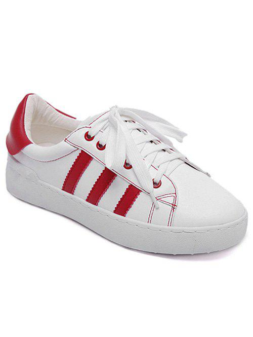 PU Leather Tie Up Striped Athletic Shoes - WHITE 39