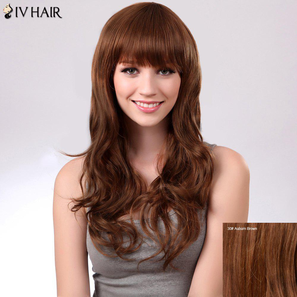 Full Bang Long Fluffy Natural Wavy Siv Human Hair Wig - AUBURN BROWN 3