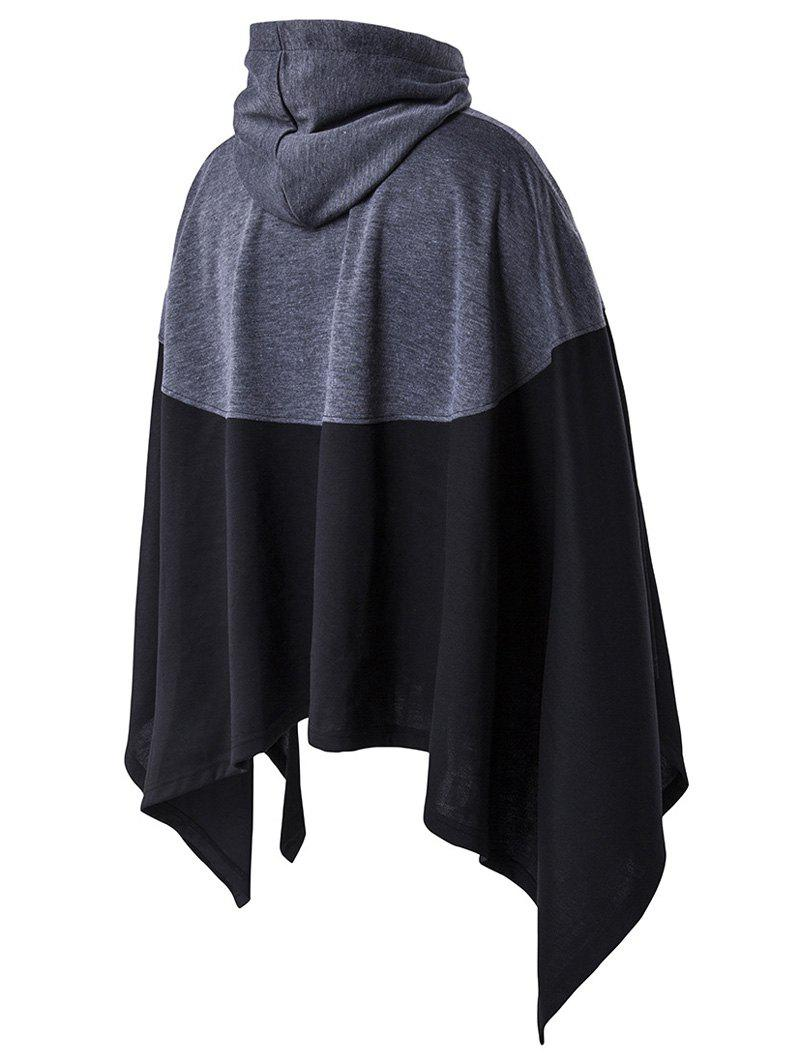 Hooded Color Block Splicing Cloak Style Irregular Cutting Hoodie