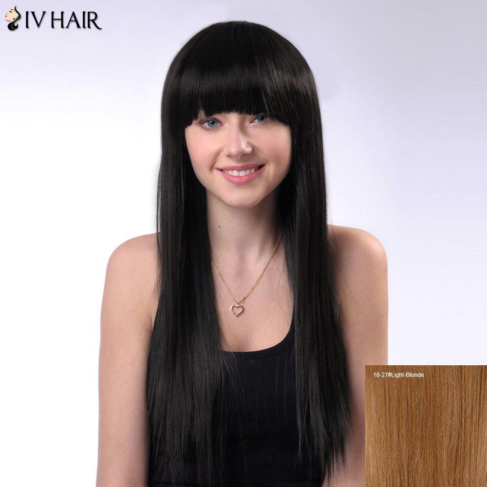 Full Bang Long Natural Straight Siv Human Hair Wig - LIGHT BLONDE