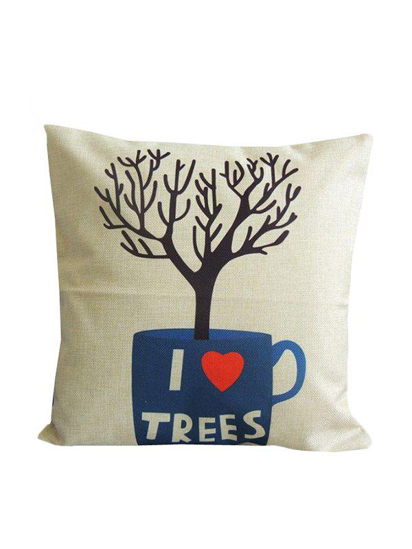 Tree Design Linen Sofa Decorative Throw Pillowcase - PALOMINO