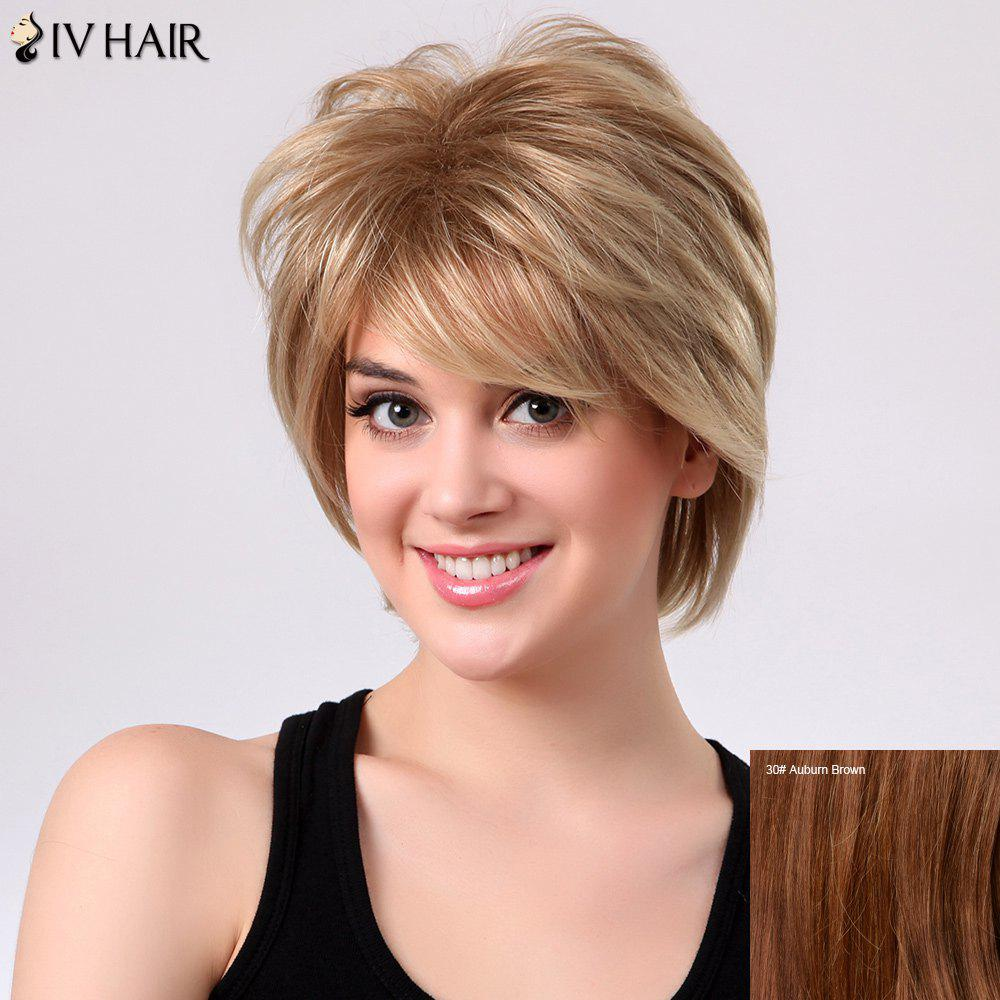Shaggy Short Layered Side Bang Straight Siv Human Hair Wig - AUBURN BROWN 3