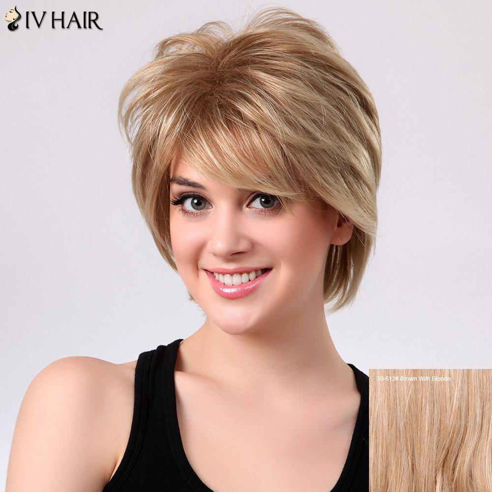 Shaggy Short Layered Side Bang Straight Siv Human Hair Wig - BROWN/BLONDE