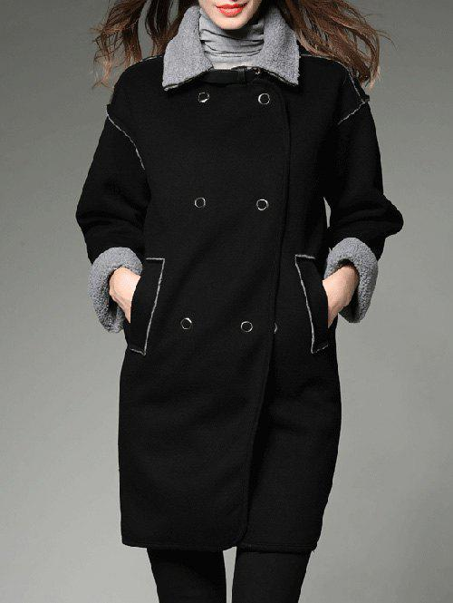 Contrast Sherpa Fleece Long Lined Coat - BLACK L