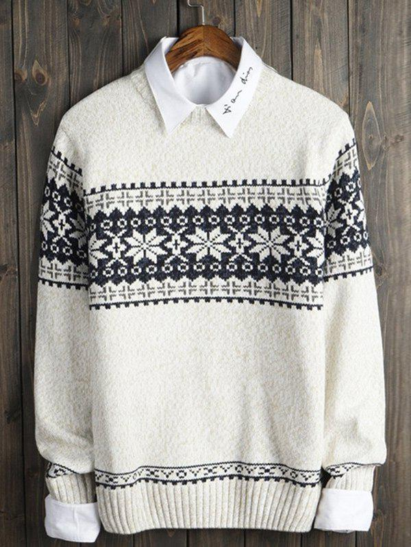 Crew Neck Christmas Snowflake Graphic Sweater - OFF WHITE S