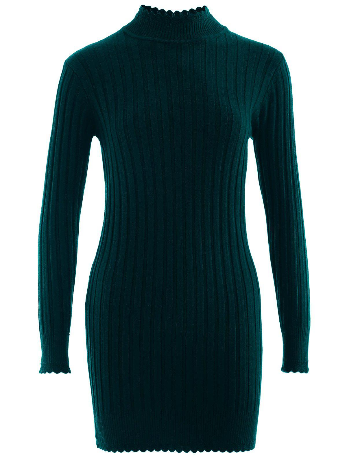 Scalloped High Neck Knitted Sweater - BLACKISH GREEN ONE SIZE