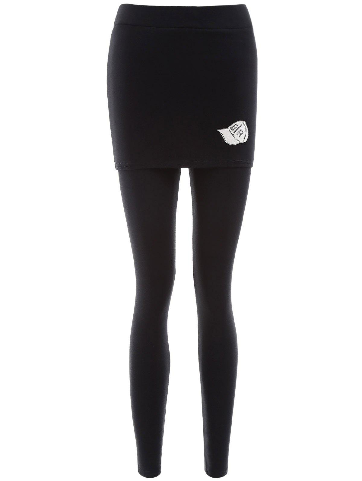 Ankle Length Skirted Leggings - BLACK ONE SIZE