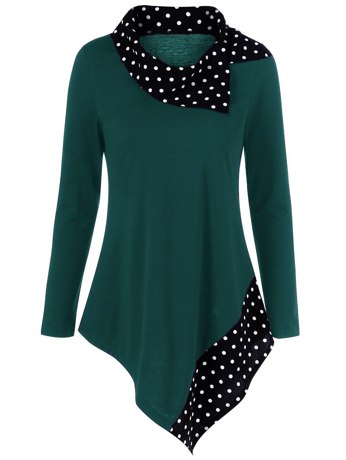 Polka Dot Trim Asymmetrical T-Shirt - MALACHITE GREEN M