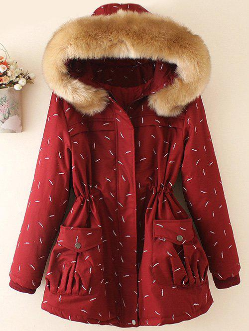 Plus Size Faux Fur Hooded Printed Parka - DEEP RED 4XL