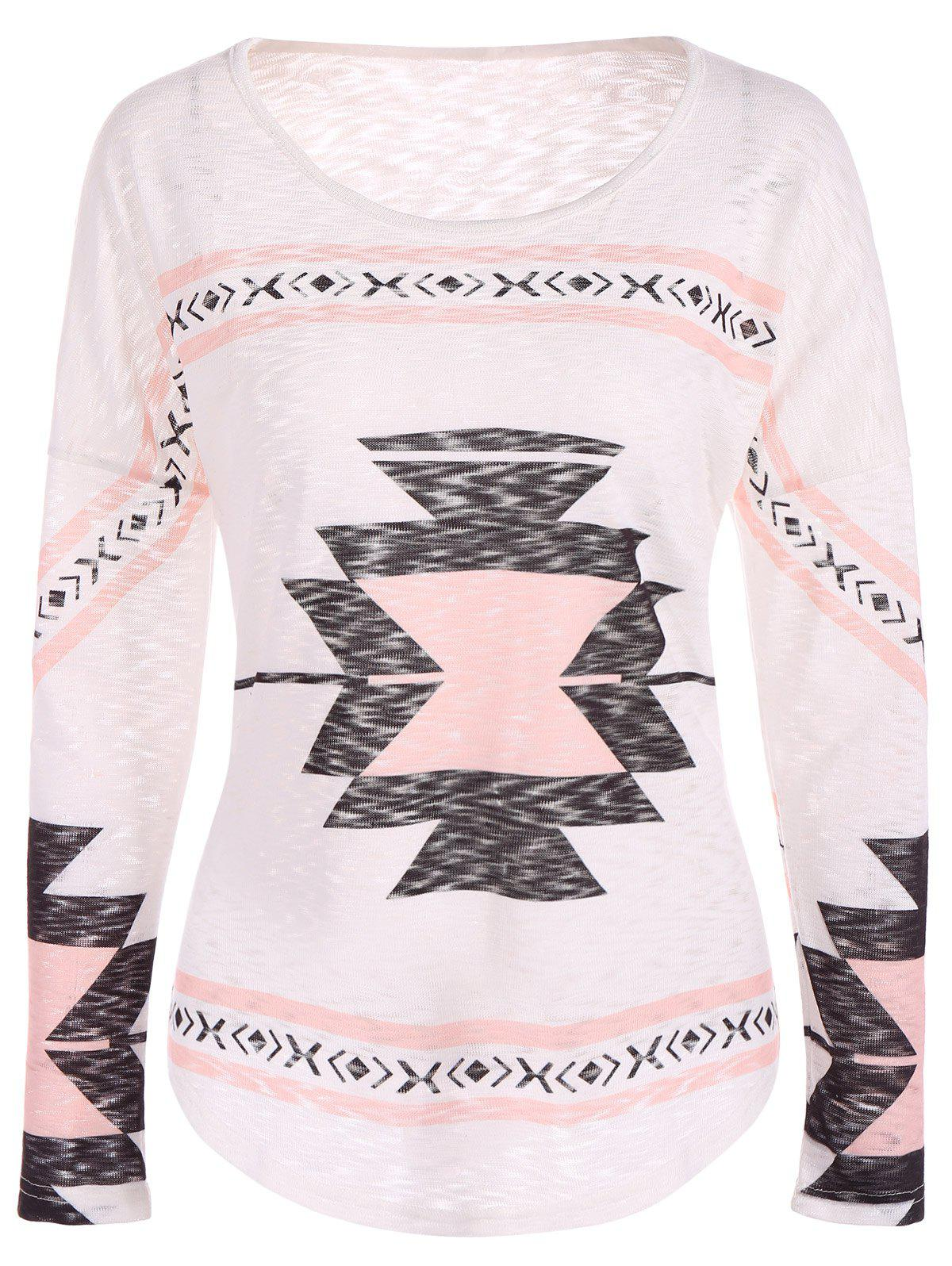 Geometry Drop Shoulder Christmas TeeWomen<br><br><br>Size: L<br>Color: SHALLOW PINK