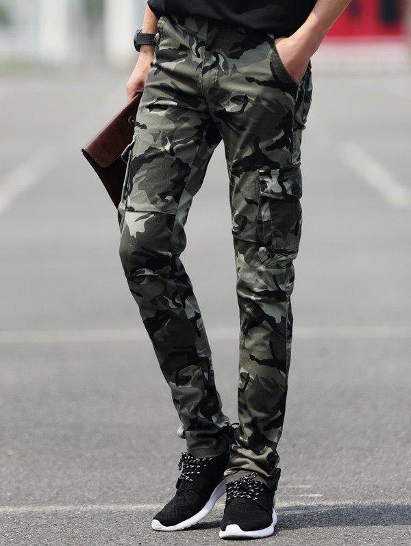 Slim Fit Pocket Camouflage Cargo Pants - CAMOUFLAGE COLOR 34