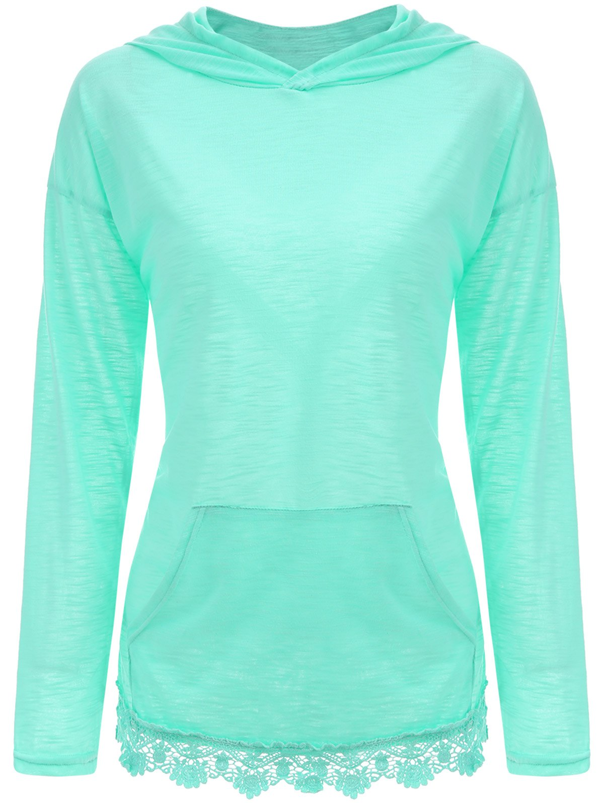 Lace Hem Kangaroo Pocket Hooded Top - CYAN L