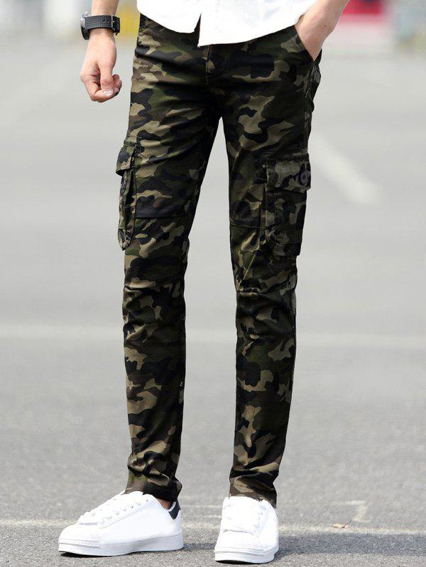 Slim Fit Pockets Camo Cargo Pants - DEEP GREEN 33