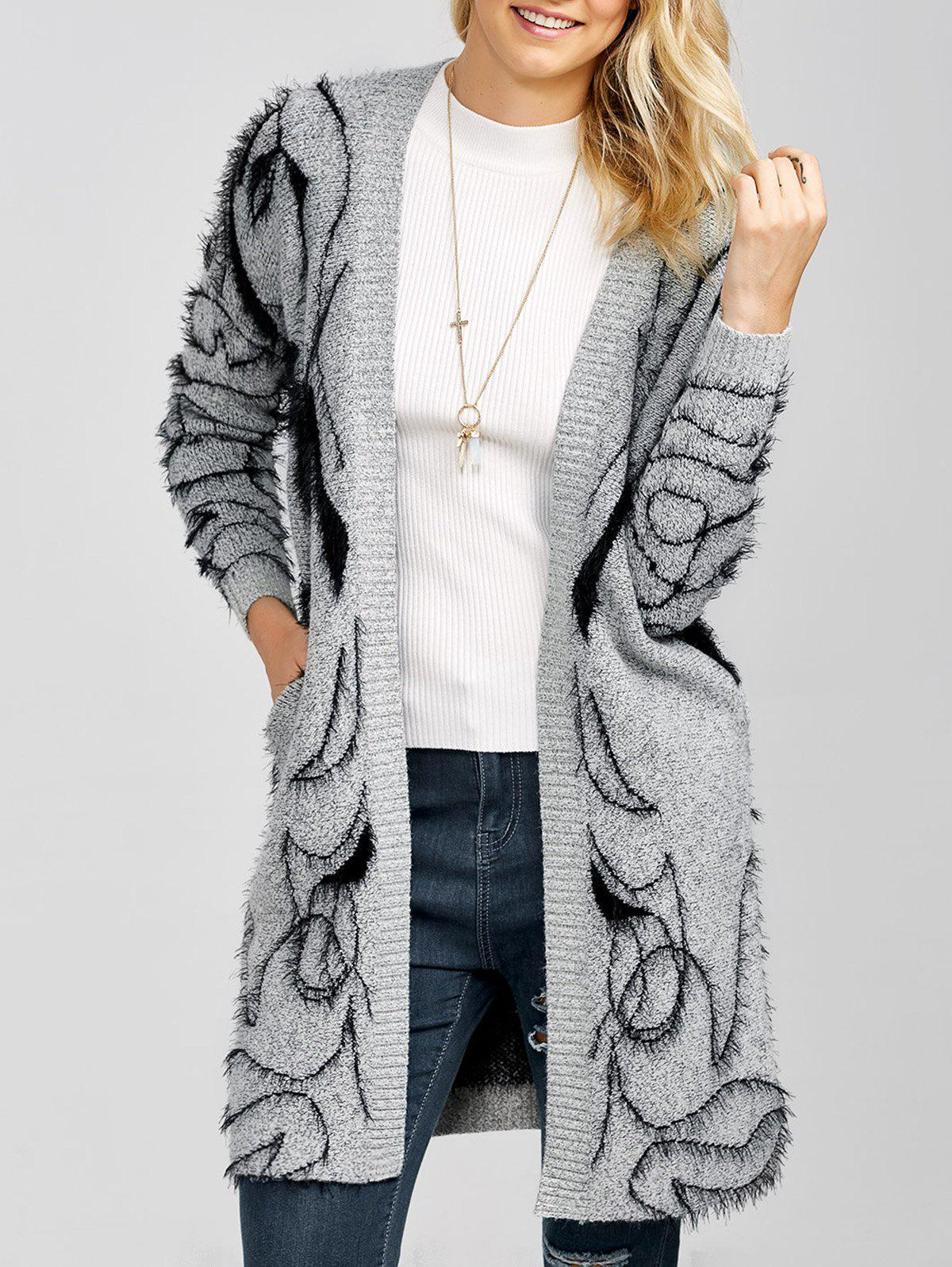 Longline Open Front Fuzzy Knit CardiganWomen<br><br><br>Size: ONE SIZE<br>Color: GRAY