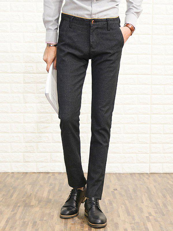 Slim Fit Zipper Fly Heather Chino Pants - DEEP GRAY 34
