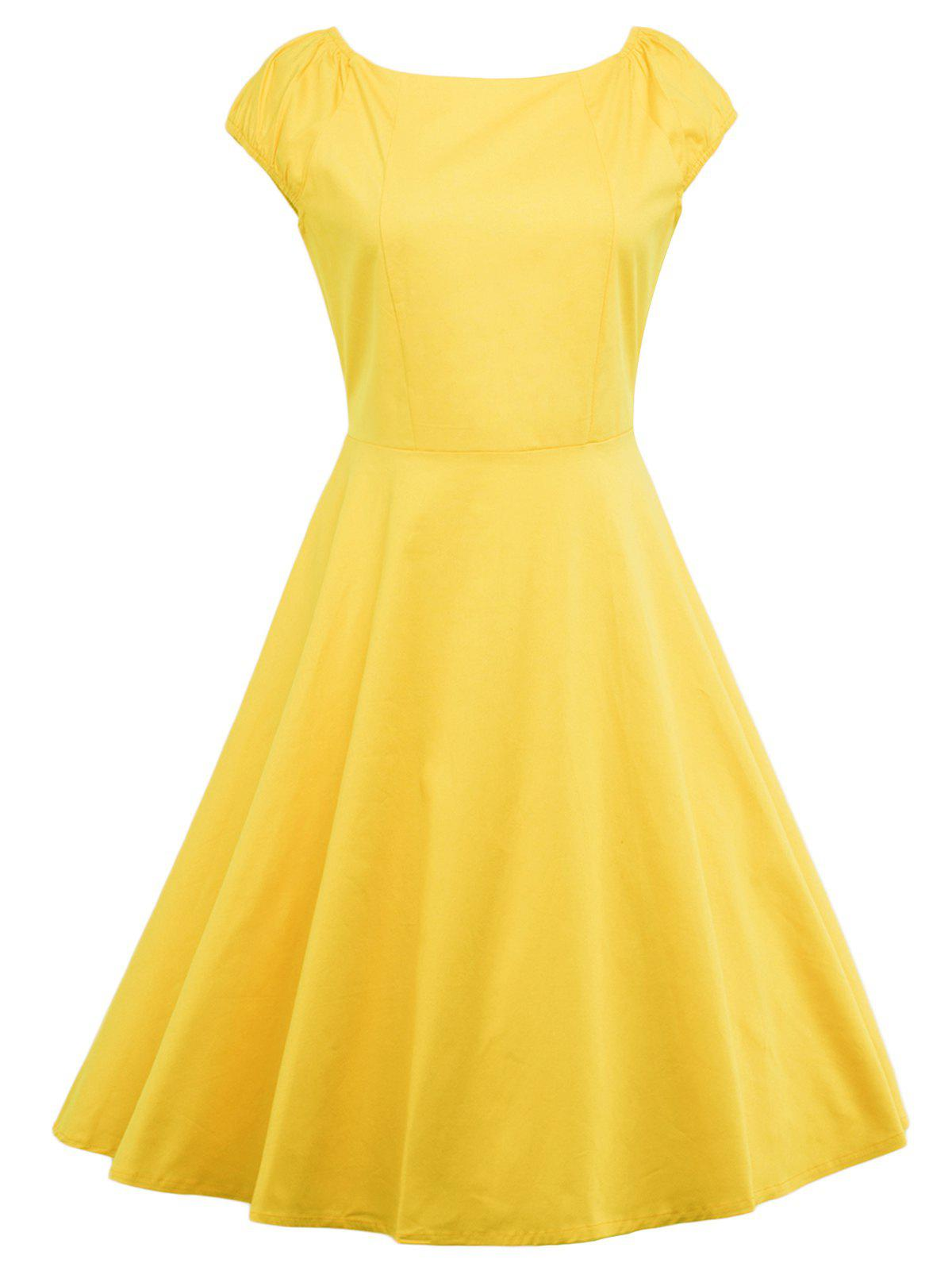 A Line Puffer Cap Sleep Prom Dress Yellow L In Vintage