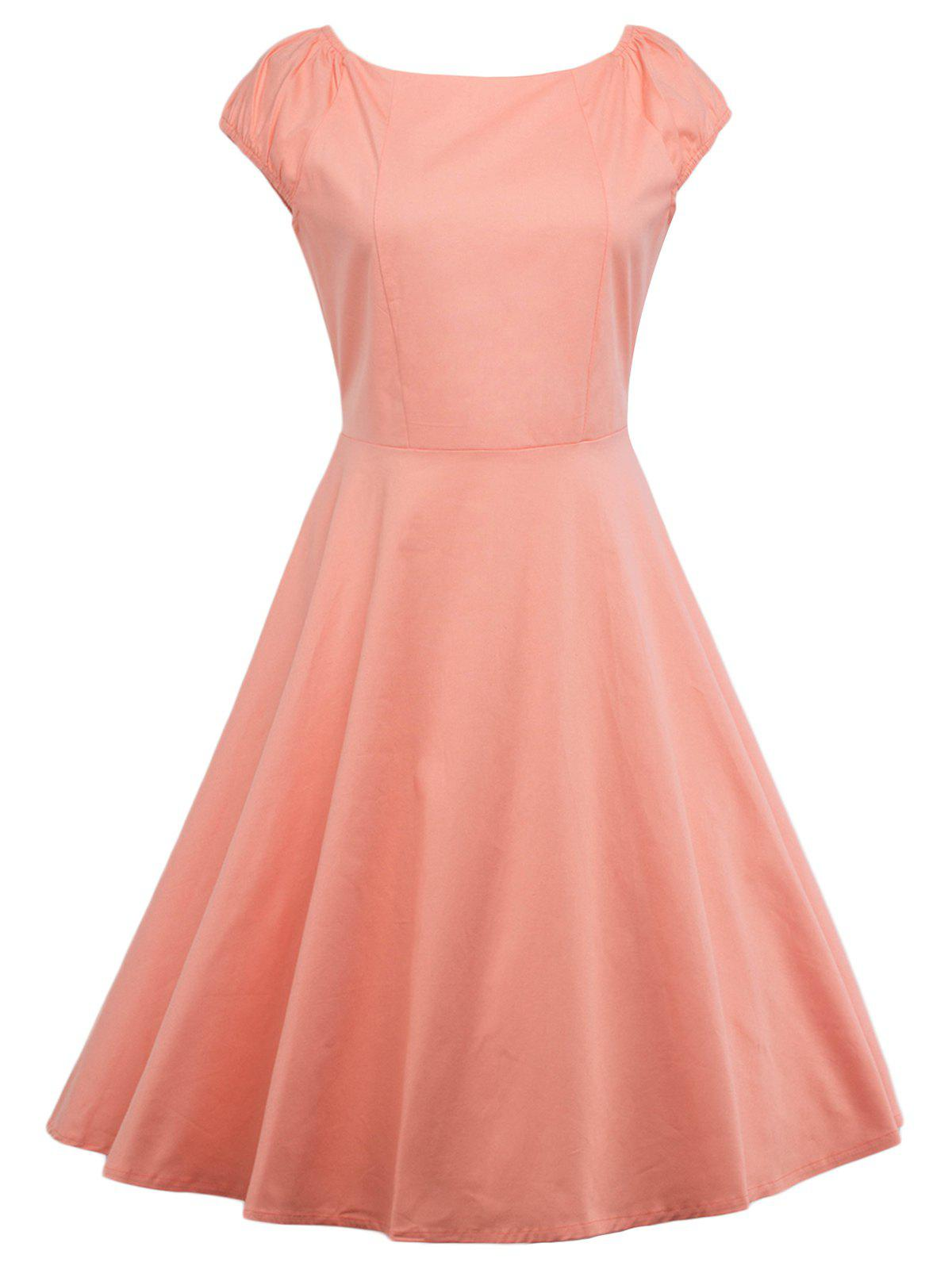 Robe de Bal Simple Évasée à Manches Cape - Orange Rose M
