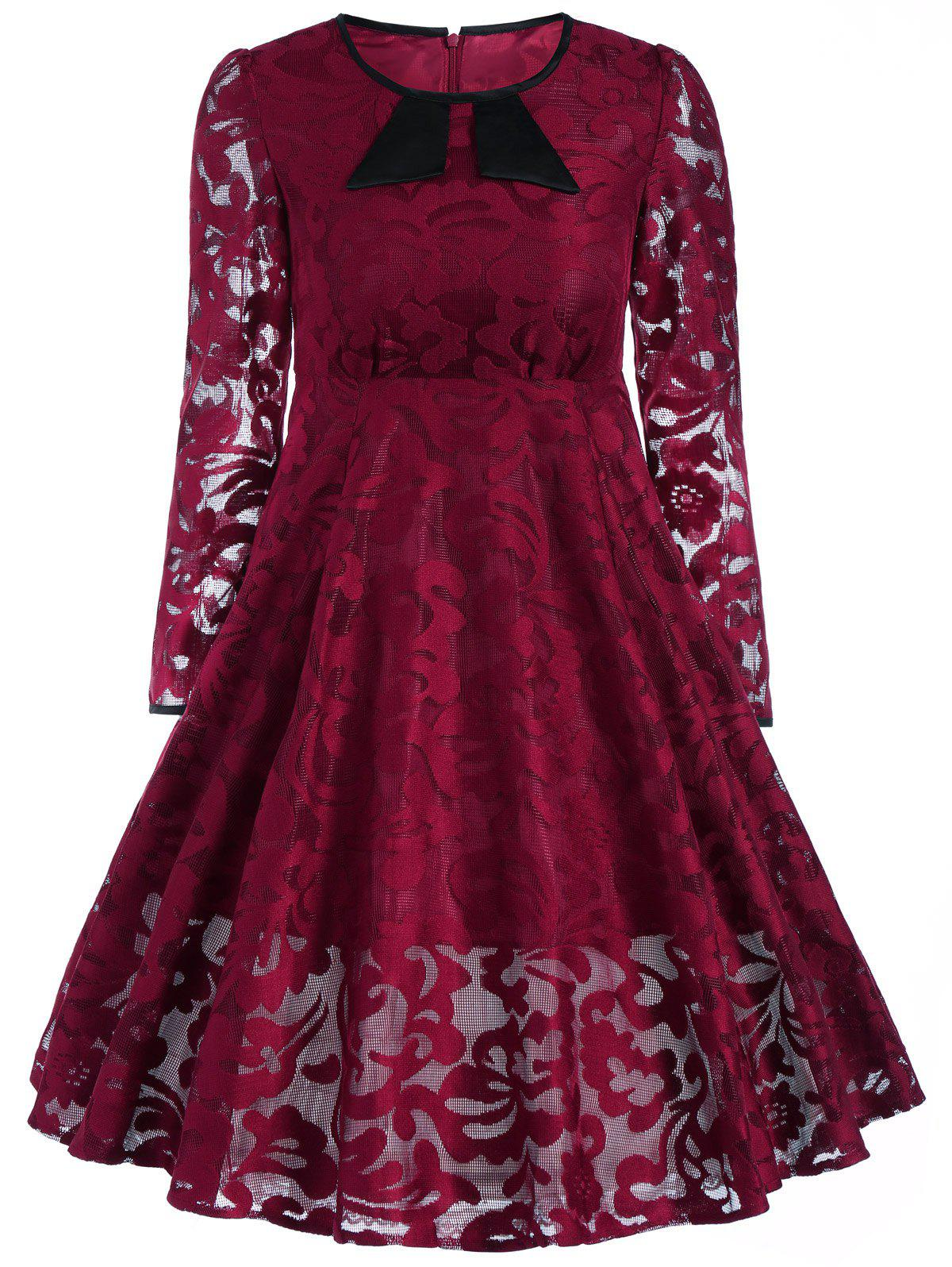 Buy Lace See Thru Line Dress BURGUNDY