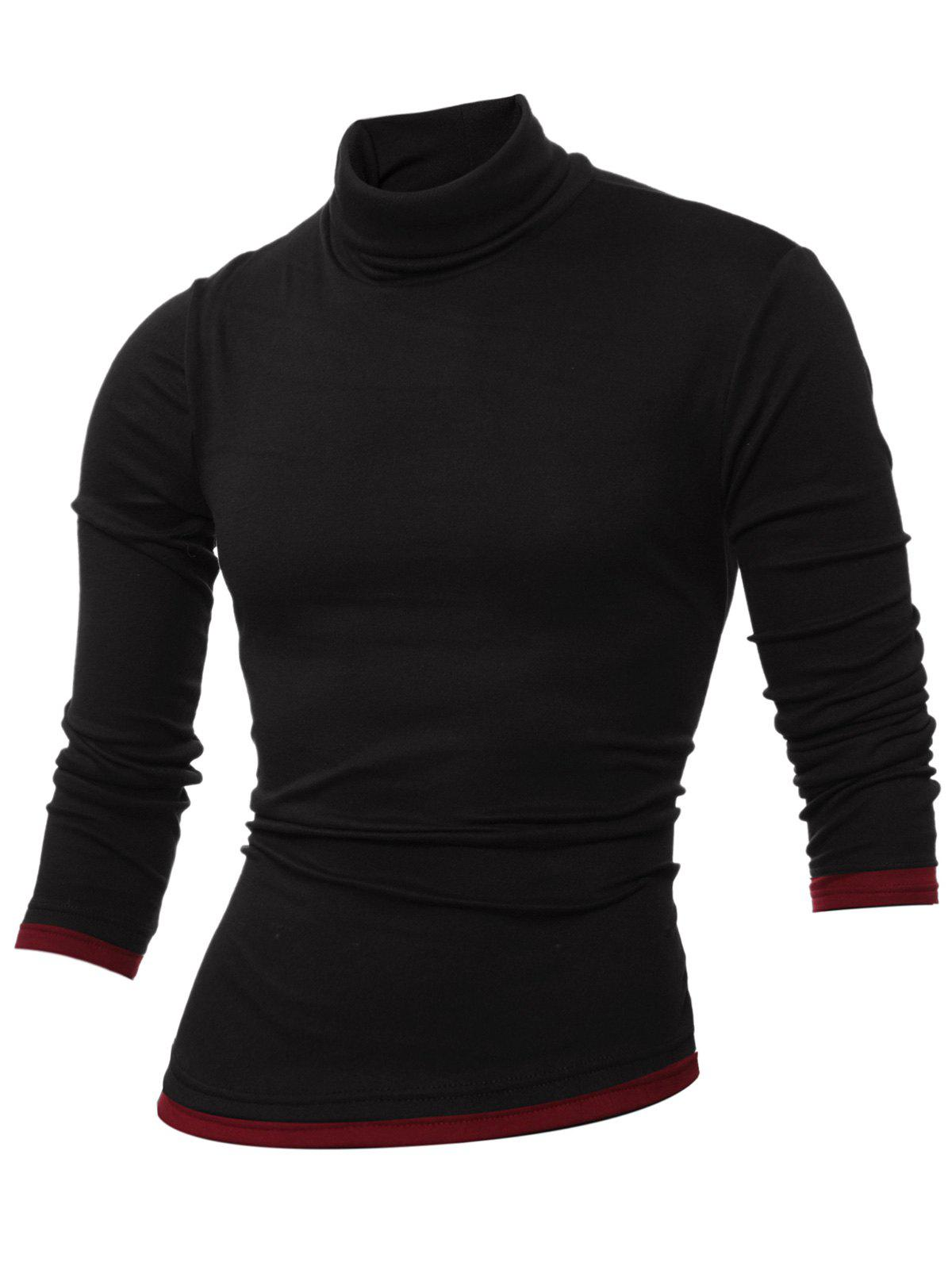 Long Sleeve Roll Neck Spliced T-Shirt - BLACK L