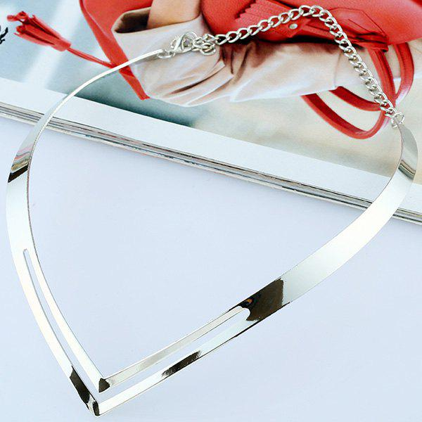 Cut Out Alloy Necklace - SILVER